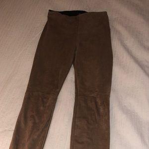 Lysse Pants - Lysse Faux Suade Leggings, Brown/Chestnut Size XS